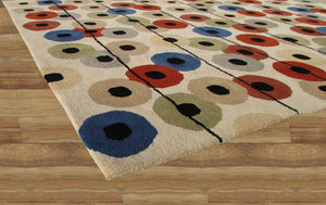 Multi Colored Polka Dots Beige Handmade Persian Style Wool Area Rugs - TulipFiesta - 4