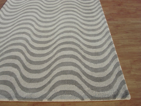New Wave Grey Colour Hand Tufted Modern Style Woolen Area Rug