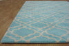 Moroccan Scroll Tile Riyana Aqua Blue Color Hand Tufted Persian Style Woolen Area Rug