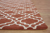 Moroccan Scroll Tile Riyana Terra Cotta Color Hand Tufted Persian Style Woolen Area Rug