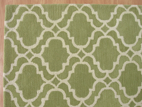 Moroccan Scroll Tile Riyana Green Color Hand Tufted Persian Style Woolen Area Rug
