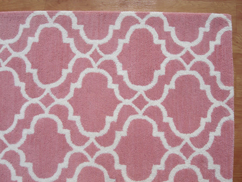 Moroccan Scroll Tile Riyana Pink Color Hand Tufted Persian Style Woolen Area Rug