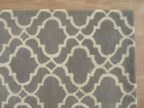 Moroccan Scroll Tile Riyana Grey Color Hand Tufted Persian Style Woolen Area Rug