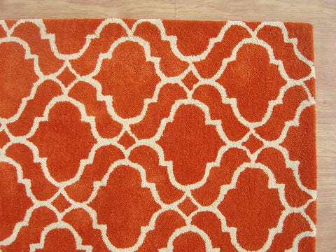 Moroccan Scroll Tile Riyana Orange Color Hand Tufted Persian Style Woolen Area Rug
