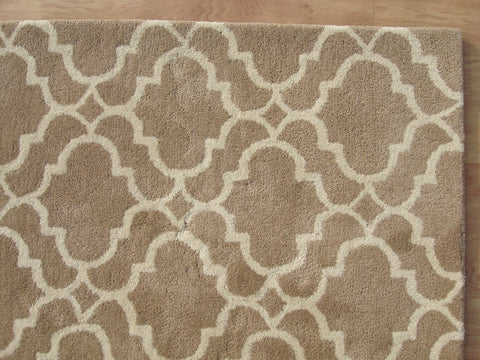 Moroccan Scroll Tile Riyana Mocha Color Hand Tufted Persian Style Woolen Area Rug