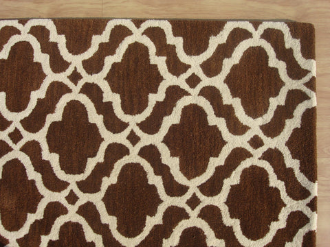 Moroccan Scroll Tile Riyana Brown Color Hand Tufted Persian Style Woolen Area Rug