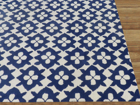 Diamond Basic Blue Handmade Persian Style Wool Area Rug Carpet - TulipFiesta - 1