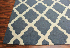Grill Blue 5 x 8 Floral Persian Style Wool Area Rug - TulipFiesta - 1