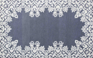 Laguna Blue White Kids 5 x 8 Floral Persian Style Wool Area Rug - TulipFiesta - 2