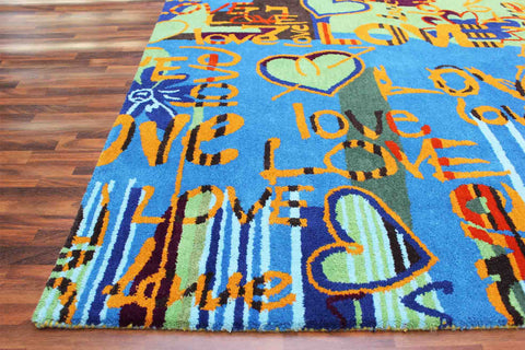 Love Graffiti 5 x 8 Handmade Floral Persian Style Wool Area Rug