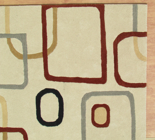 Beige Multi Color Contemporary Style Woolen Area Rug