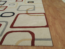 Load image into Gallery viewer, Beige Multi Color Contemporary Style Woolen Area Rug - TulipFiesta - 4