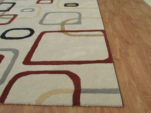 Beige Multi Color Contemporary Style Woolen Area Rug - TulipFiesta - 4
