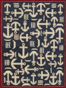 Boat and Anchor Rug Blue Handmade Persian Style 100% Wool Area Rug - TulipFiesta - 2
