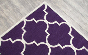 Blair Scroll Purple Handmade Persian Style Woolen Area Rug Carpet - TulipFiesta - 3