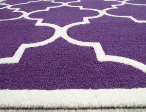 Blair Scroll Purple Handmade Persian Style Woolen Area Rug Carpet - TulipFiesta - 5