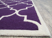 Load image into Gallery viewer, Blair Scroll Purple Handmade Persian Style Woolen Area Rug Carpet - TulipFiesta - 6