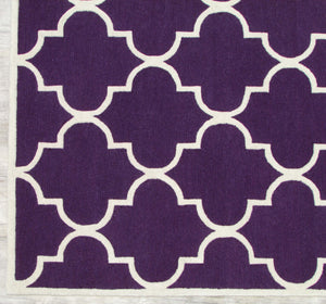 Blair Scroll Purple Handmade Persian Style Woolen Area Rug Carpet - TulipFiesta - 1