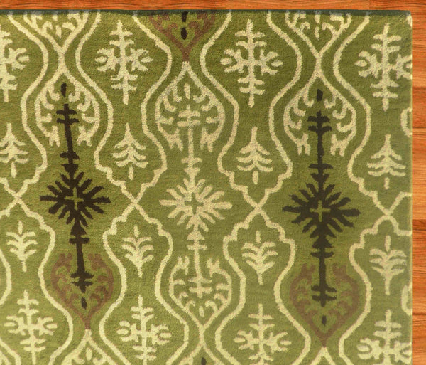 Ikat Links Green Handmade Persian Style Woolen Area Rug