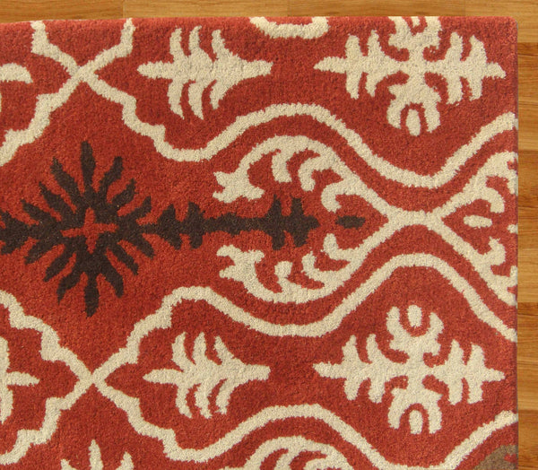 Ikat Links Rust Handmade Persian Style Woolen Area Rug