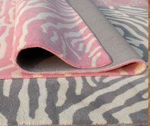 Load image into Gallery viewer, Zebra Kids Pink Gray Blue Persian Style Handmade Woolen Area Rug - TulipFiesta - 1