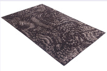 Load image into Gallery viewer, Abstract Modern Chocolate Indo-Tibetian Handmade Modern Wool and Bamboo Silk Area Rug Carpet