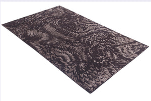 Abstract Modern Chocolate Indo-Tibetian Handmade Modern Wool and Bamboo Silk Area Rug Carpet
