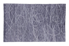 Load image into Gallery viewer, Abstract Modern Dark Grey and Blue Indo-Tibetian Handmade Bamboo Silk Area Rug Carpet