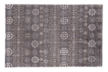 Load image into Gallery viewer, Floral Contemporary Dark Brown / Multi Color Indo-Tibetian Handmade Bamboo Silk Area Rug Carpet