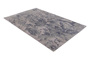 Abstract Modern Grey and Multi-Colored Indo-Tibetian Handmade Wool Area Rug Carpet