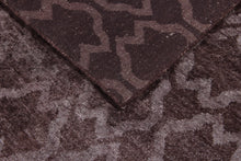 Load image into Gallery viewer, Abstract Modern Chocolate Color Indo-Tibetian Handmade Bamboo Silk Area Rug Carpet