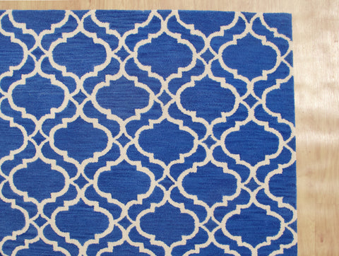 Moroccan Scroll Tile Riyana Denim Blue Color Hand Tufted Persian Style Woolen Area Rug