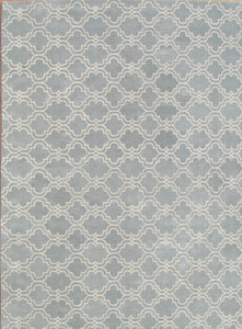 Moroccan Scroll Tile Porcelain Blue Persian Style Wool Area Rug - TulipFiesta - 4