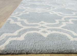 Moroccan Scroll Tile Porcelain Blue Persian Style Wool Area Rug - TulipFiesta - 2