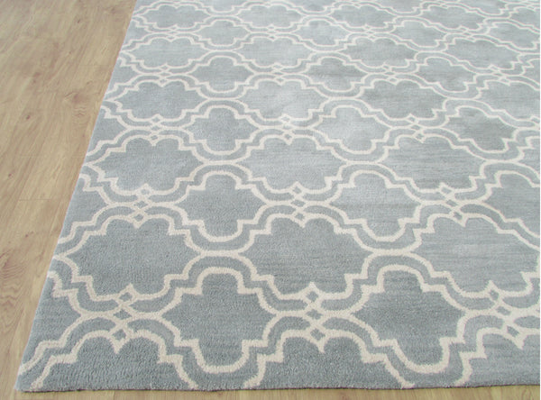 Moroccan Scroll Tile Porcelain Blue Persian Style Wool Area Rug