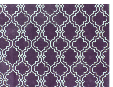 Moroccan Scroll Tile Purple Handmade Persian Style Wool Area Rug - TulipFiesta - 1