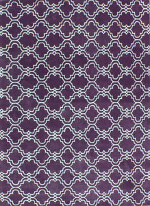 Moroccan Scroll Tile Purple Handmade Persian Style Wool Area Rug - TulipFiesta - 4