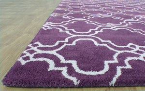 Moroccan Scroll Tile Purple Handmade Persian Style Wool Area Rug - TulipFiesta - 2