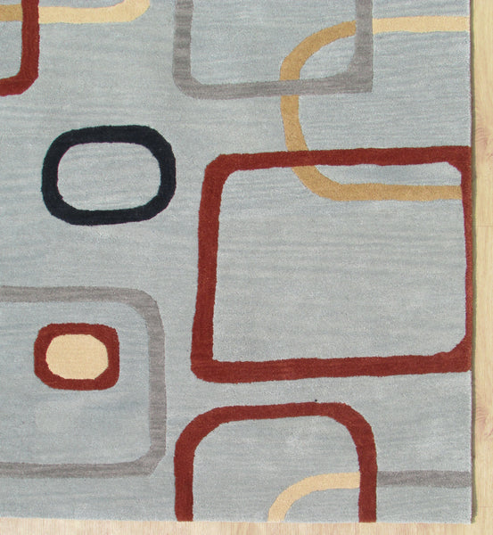 Porcelain Blue Rectangles Contemporary Style Wool Area Rug
