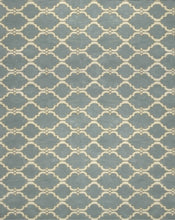 Load image into Gallery viewer, Moroccan Scroll Tile Gray/Porcelain Blue Persian Style Wool Area Rug - TulipFiesta - 4