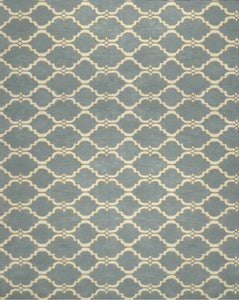 Moroccan Scroll Tile Gray/Porcelain Blue Persian Style Wool Area Rug - TulipFiesta - 4