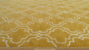 Moroccan Scroll Tile Yellow Handmade Persian Style Wool Area Rug - TulipFiesta - 3