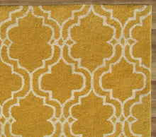 Load image into Gallery viewer, Moroccan Scroll Tile Yellow Handmade Persian Style Wool Area Rug - TulipFiesta - 1