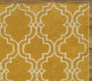 Moroccan Scroll Tile Yellow Handmade Persian Style Wool Area Rug - TulipFiesta - 1