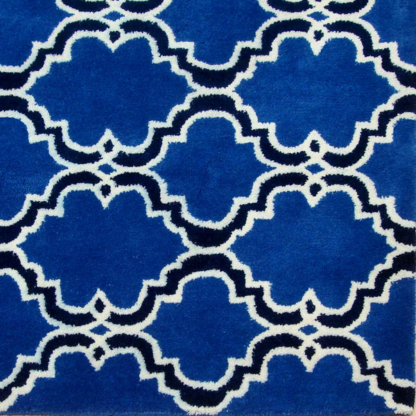 Moroccan Scroll Tile Indigo Handmade Persian Style Wool Area Rug