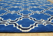 Load image into Gallery viewer, Moroccan Scroll Tile Indigo Handmade Persian Style Wool Area Rug - TulipFiesta - 2