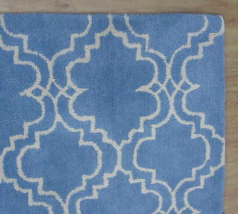 Moroccan Scroll Tile Light Blue Handmade Persian Style Wool Area Rug