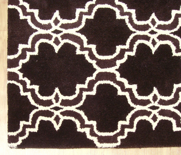 Moroccan Scroll Tile Brown Handmade Persian Style Wool