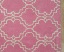 Load image into Gallery viewer, Moroccan Scroll Tile Pink Handmade Persian Style Wool Area Rug - TulipFiesta - 1