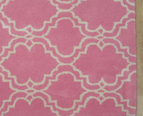 Moroccan Scroll Tile Pink Handmade Persian Style Wool Area Rug